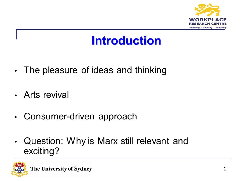 Introduction The pleasure of ideas and thinking Arts revival