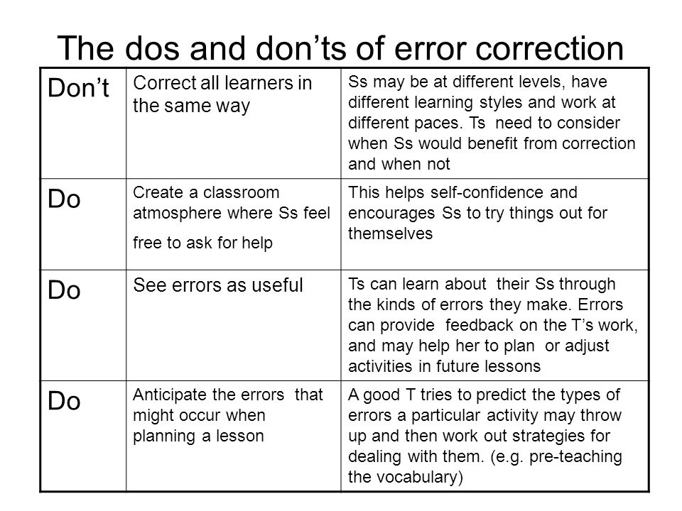 The dos and don'ts of error correction
