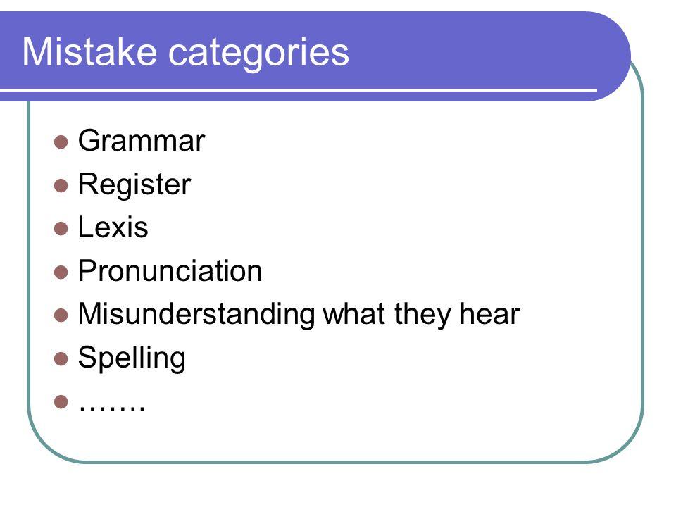 Mistake categories Grammar Register Lexis Pronunciation