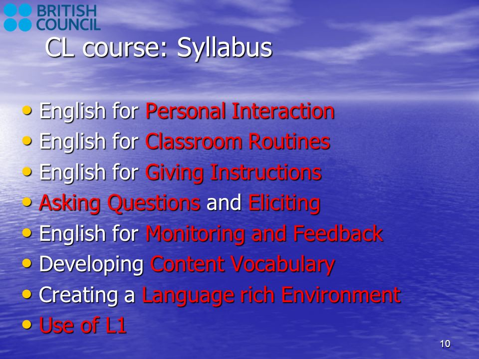 CL course: Syllabus English for Personal Interaction