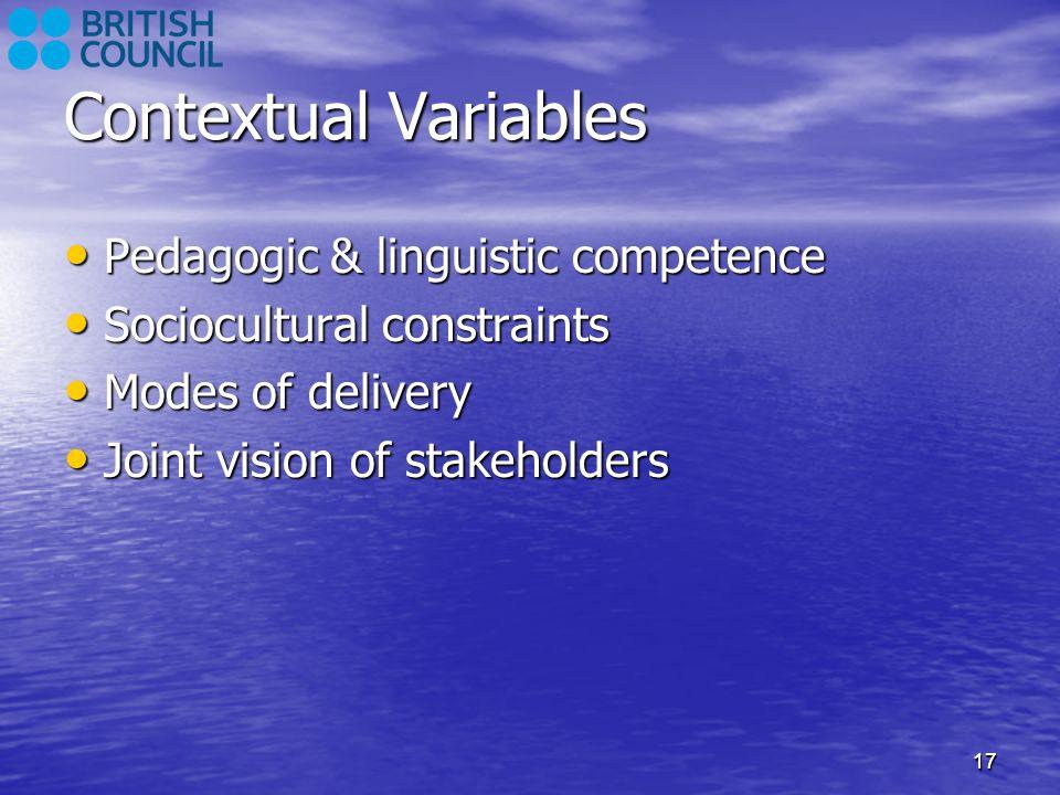 Contextual Variables Pedagogic & linguistic competence