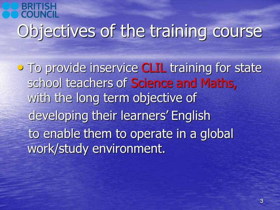 Objectives of the training course