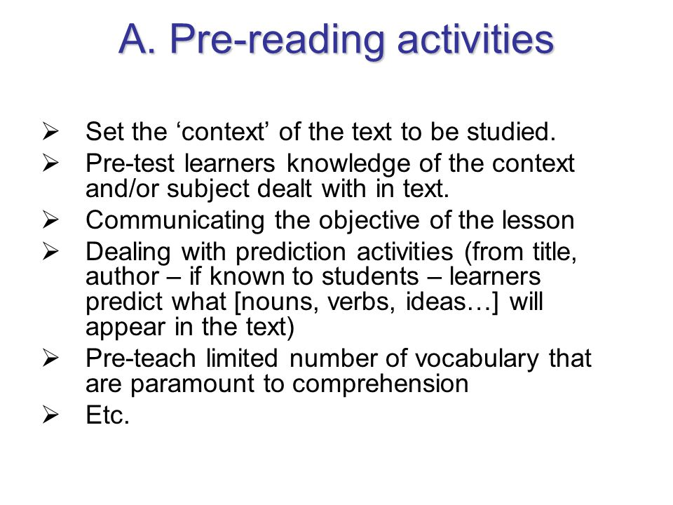 A. Pre-reading activities