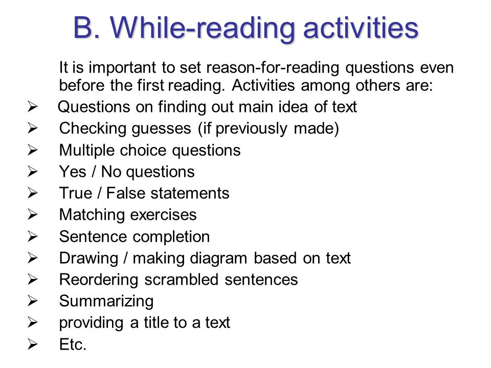 B. While-reading activities