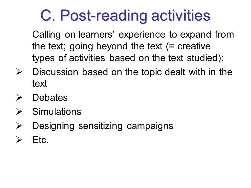 C. Post-reading activities