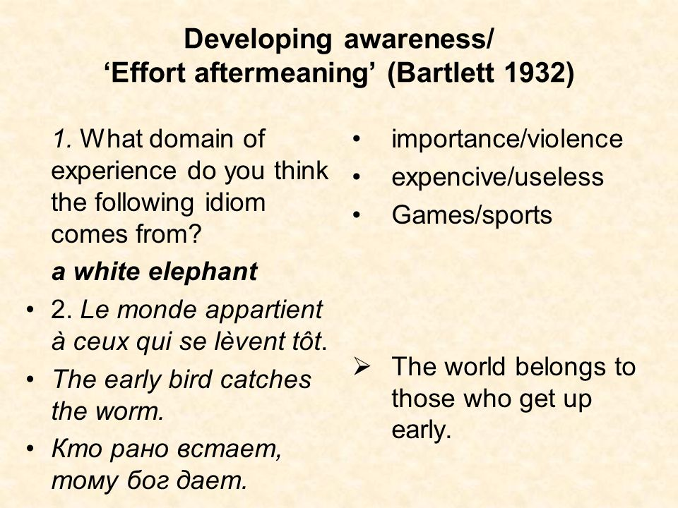 Developing awareness/ 'Effort aftermeaning' (Bartlett 1932)