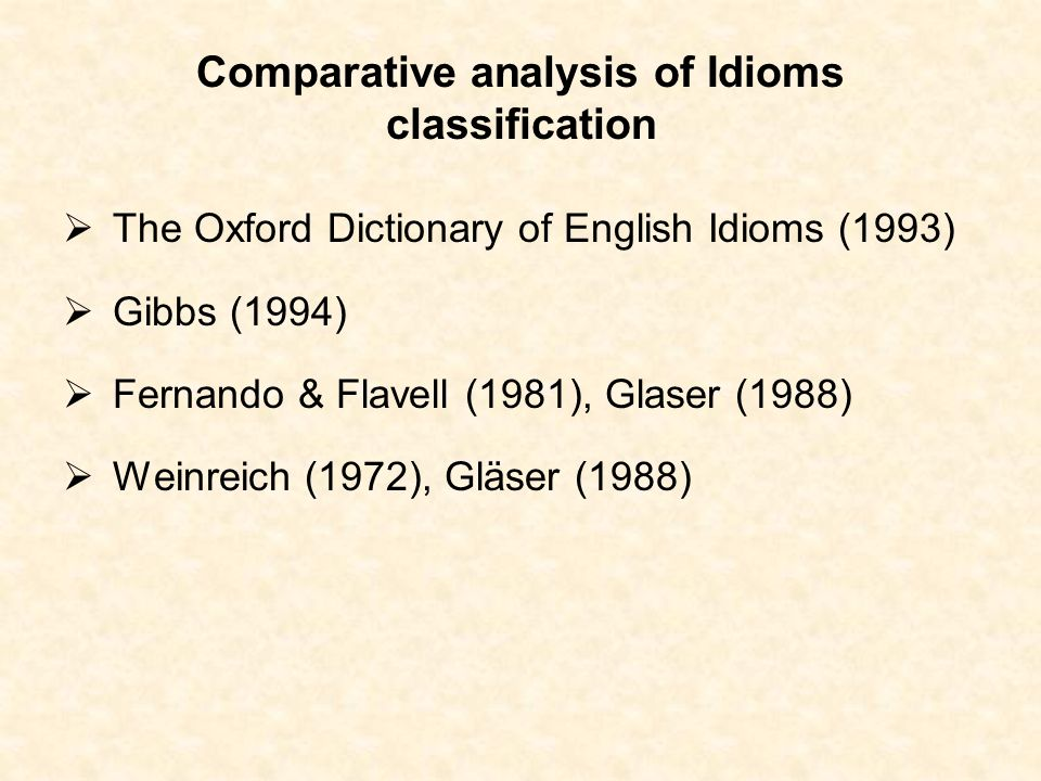 Comparative analysis of Idioms classification