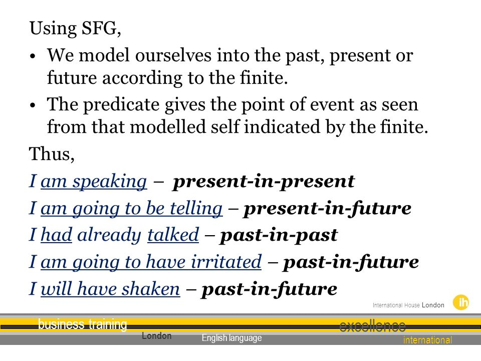 Using SFG, We model ourselves into the past, present or future according to the finite.