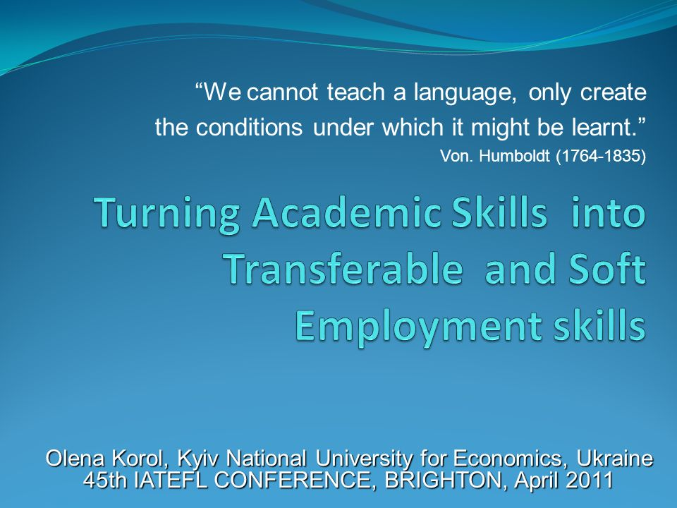 Turning Academic Skills into Transferable and Soft Employment skills