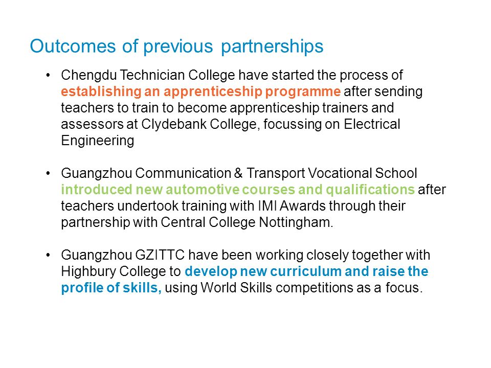 Outcomes of previous partnerships