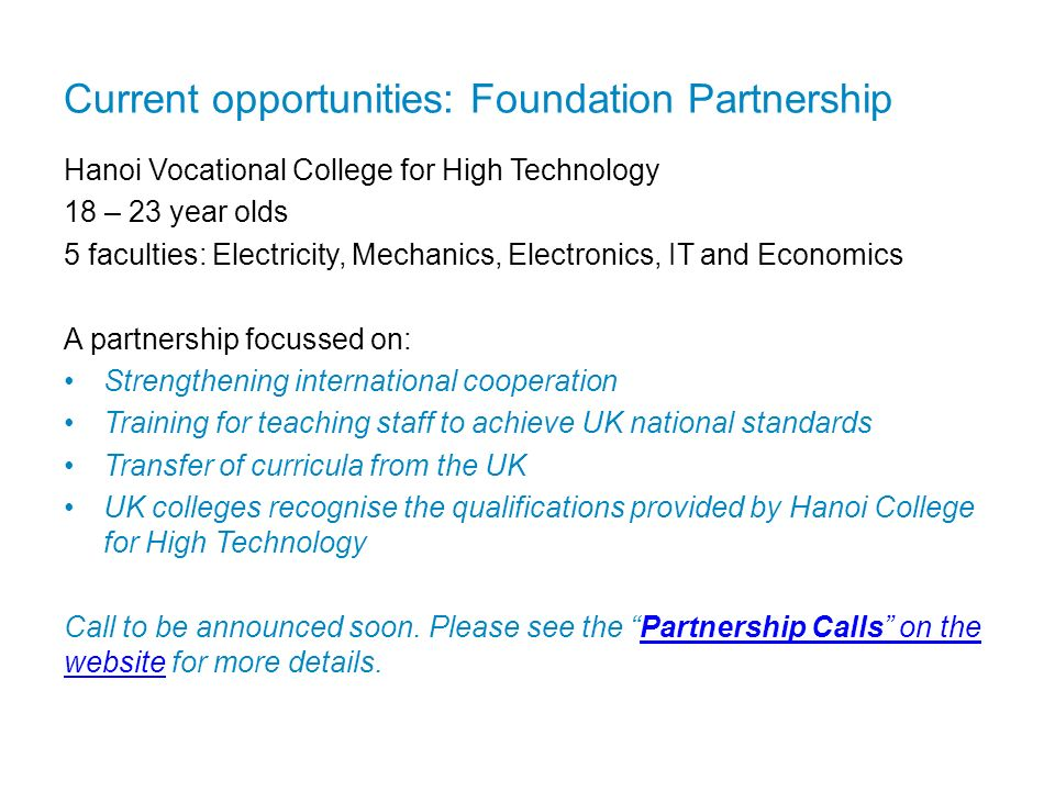 Current opportunities: Foundation Partnership