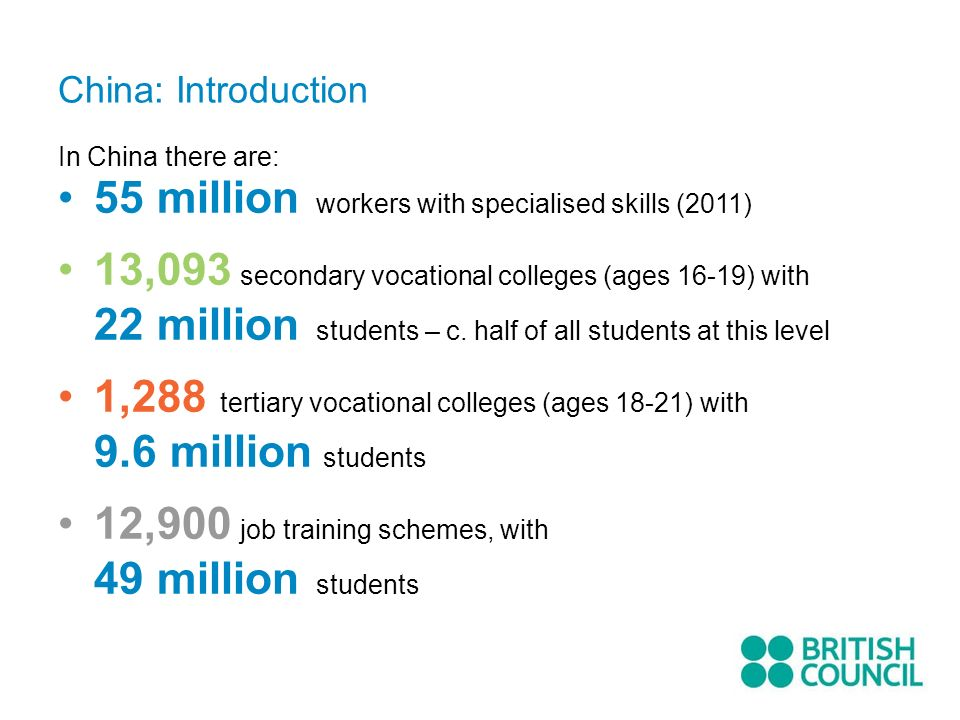 55 million workers with specialised skills (2011)