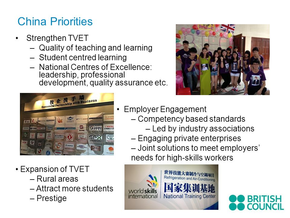 China Priorities Strengthen TVET Quality of teaching and learning