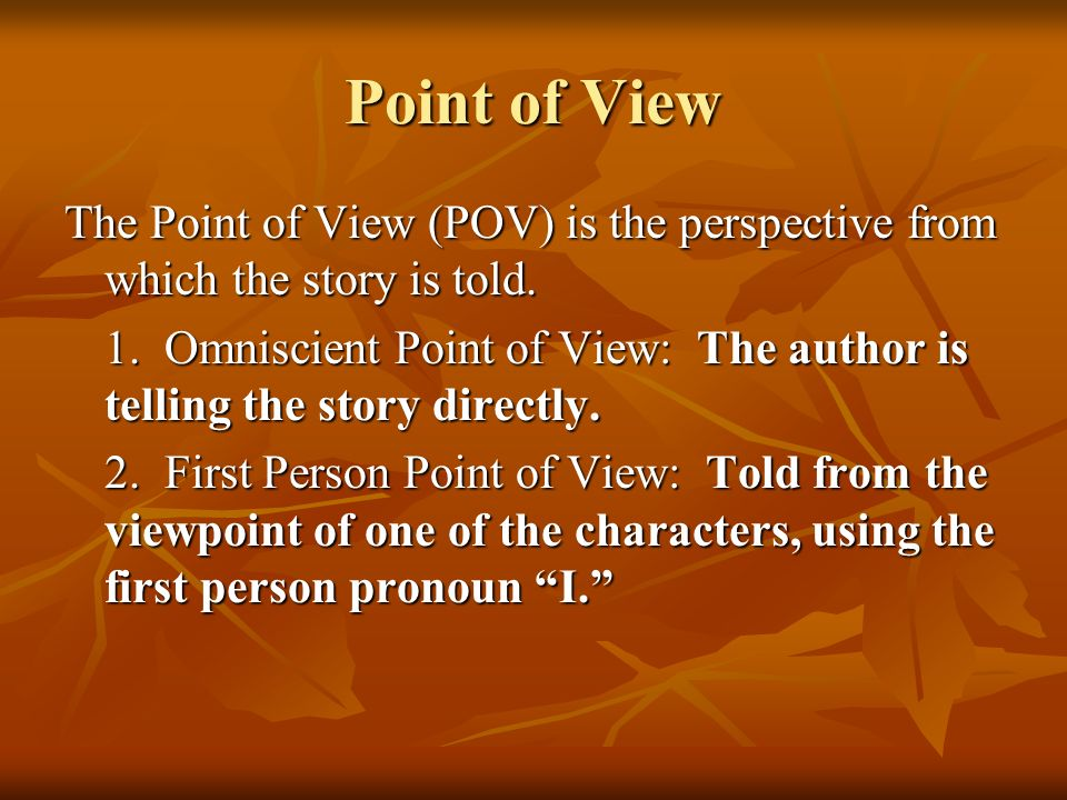 Point of View The Point of View (POV) is the perspective from which the story is told.