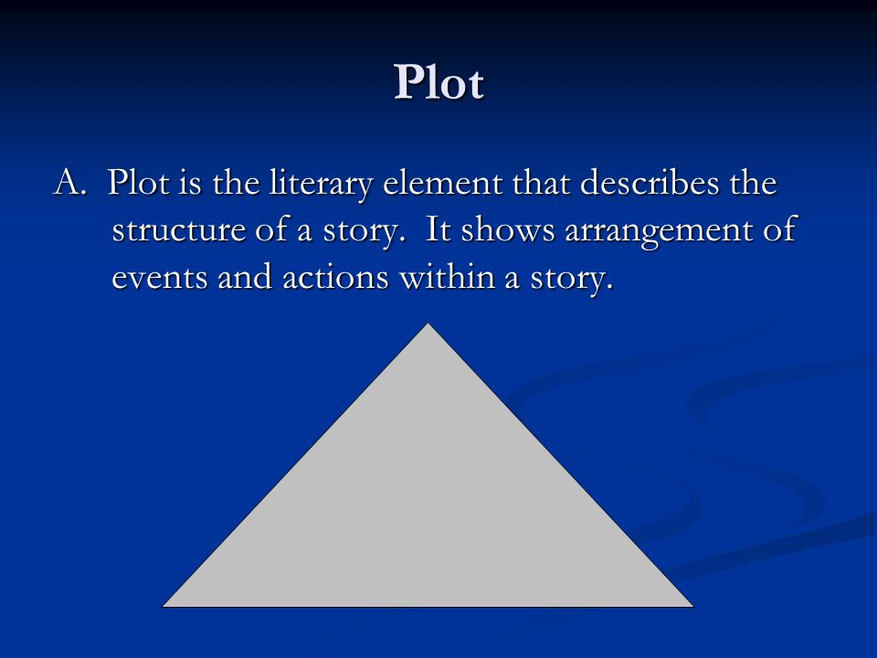 Plot A. Plot is the literary element that describes the structure of a story.