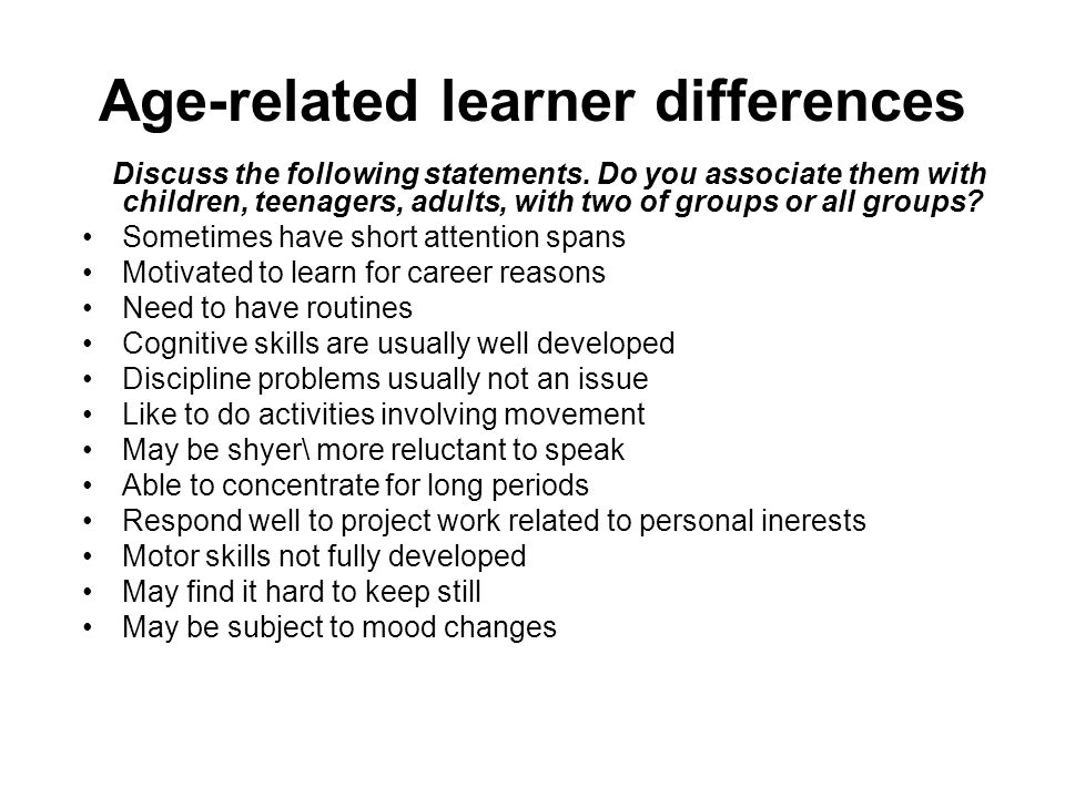 Age-related learner differences