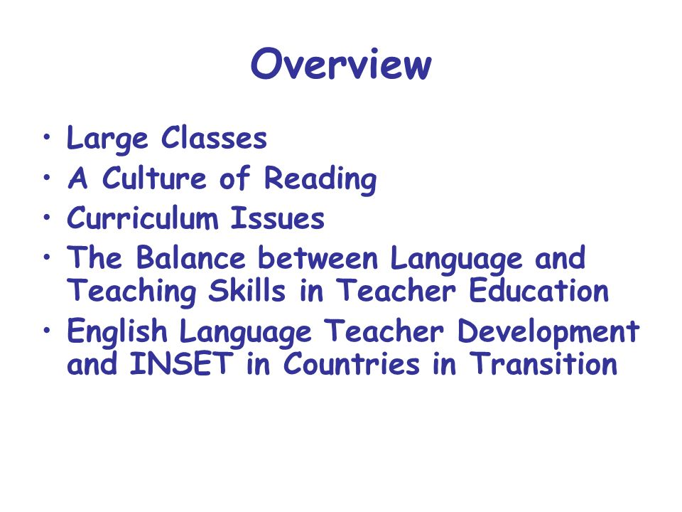 Overview Large Classes A Culture of Reading Curriculum Issues