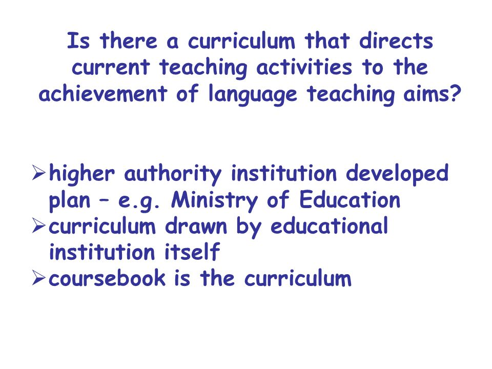 curriculum drawn by educational institution itself