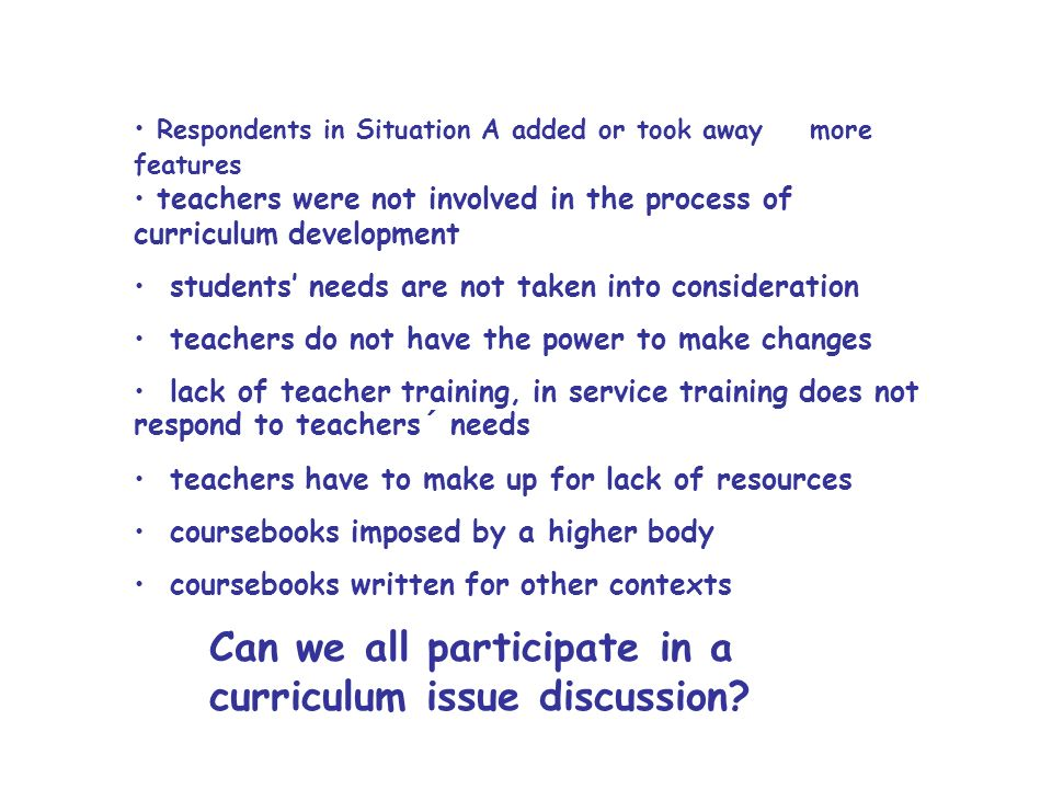 Can we all participate in a curriculum issue discussion