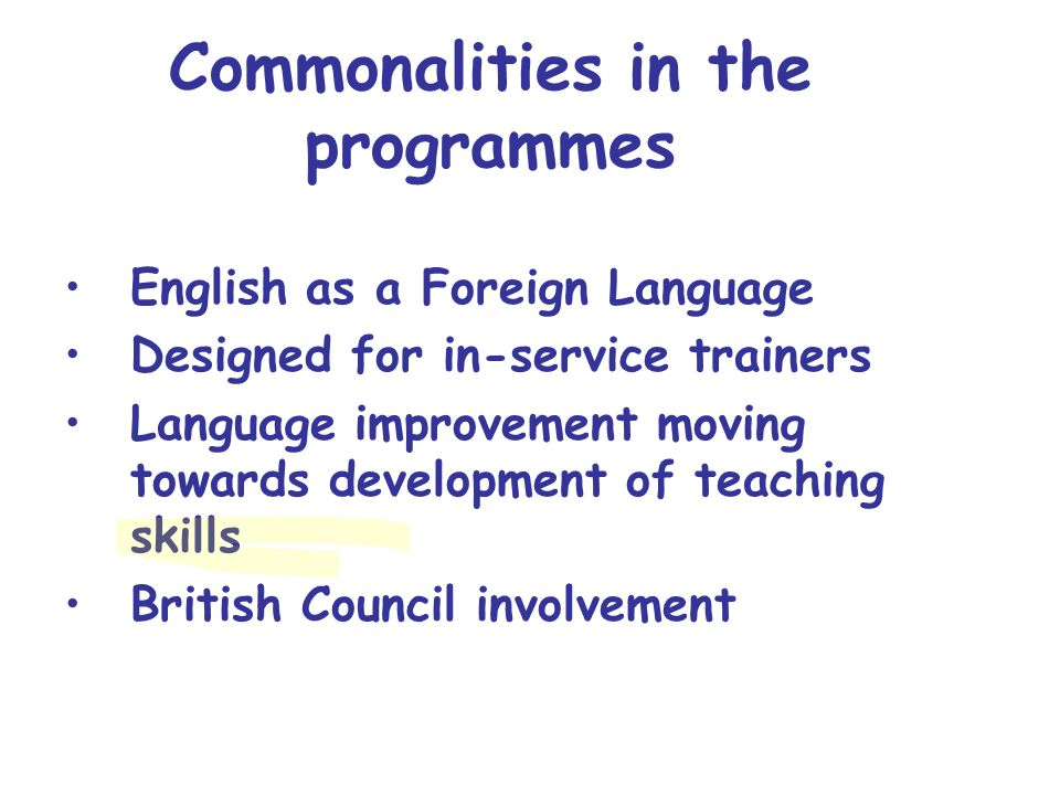 Commonalities in the programmes