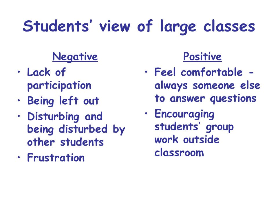 Students' view of large classes