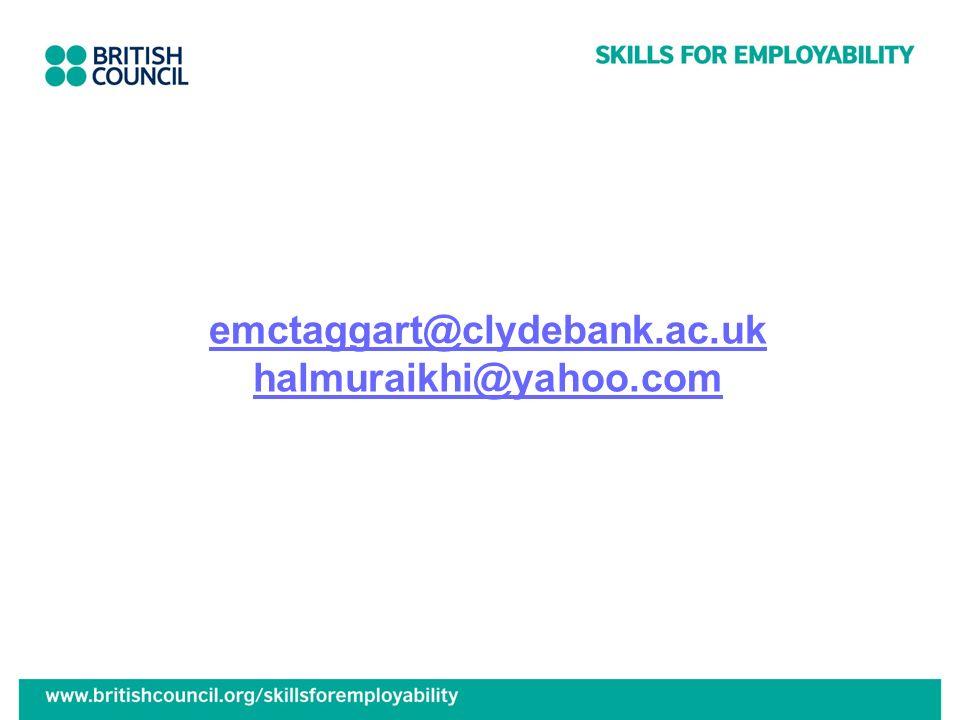emctaggart@clydebank.ac.uk halmuraikhi@yahoo.com