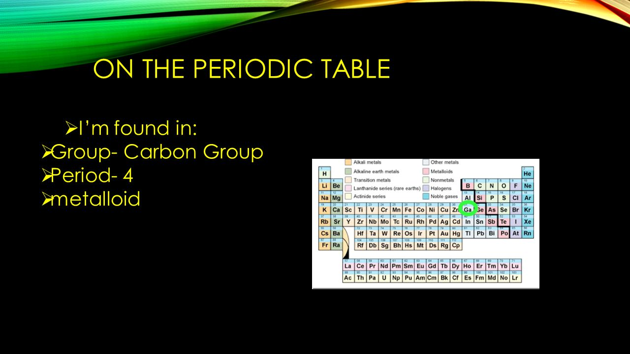 I am the element germanium ppt video online download on the periodic table im found in group carbon group period gamestrikefo Image collections