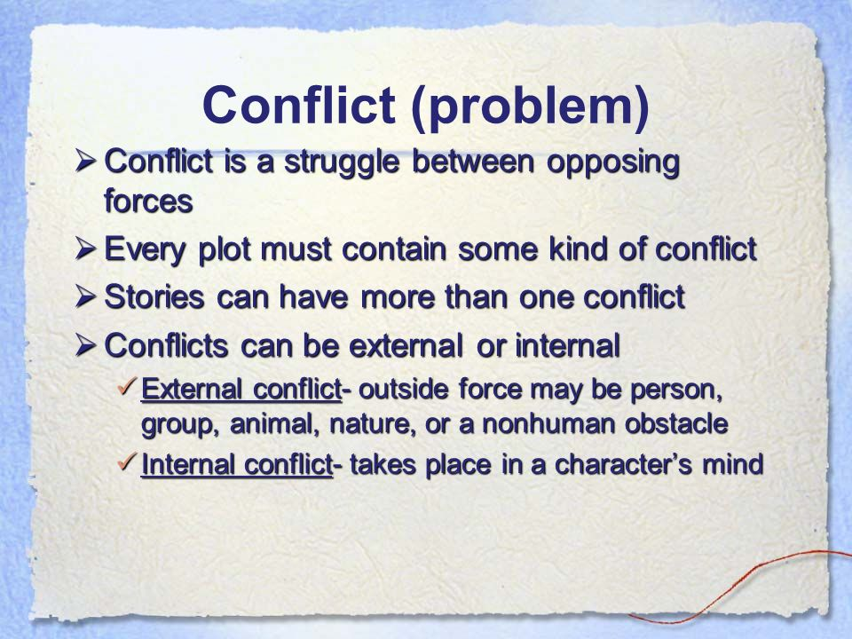 internal and external conflict essay Ralph is a character that must mature quickly he goes from a boy happy to be rid of adults to a brooding person experiencing way too much for his age his conflicts are both internal and external externally, ralph must contend with a group of boys who do not take anything, except hunting.