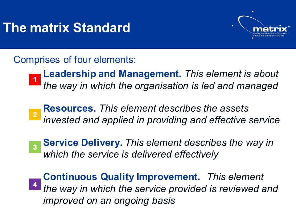 The matrix Standard Comprises of four elements: