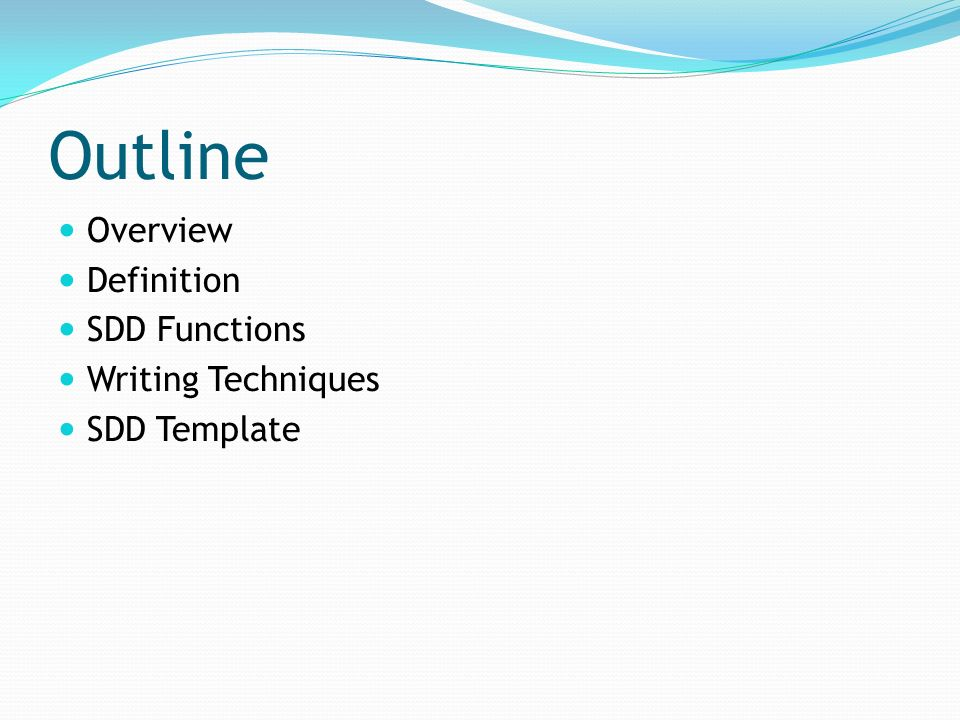 Software design document sdd ppt video online download 2 outline overview definition sdd functions writing techniques sdd template pronofoot35fo Choice Image