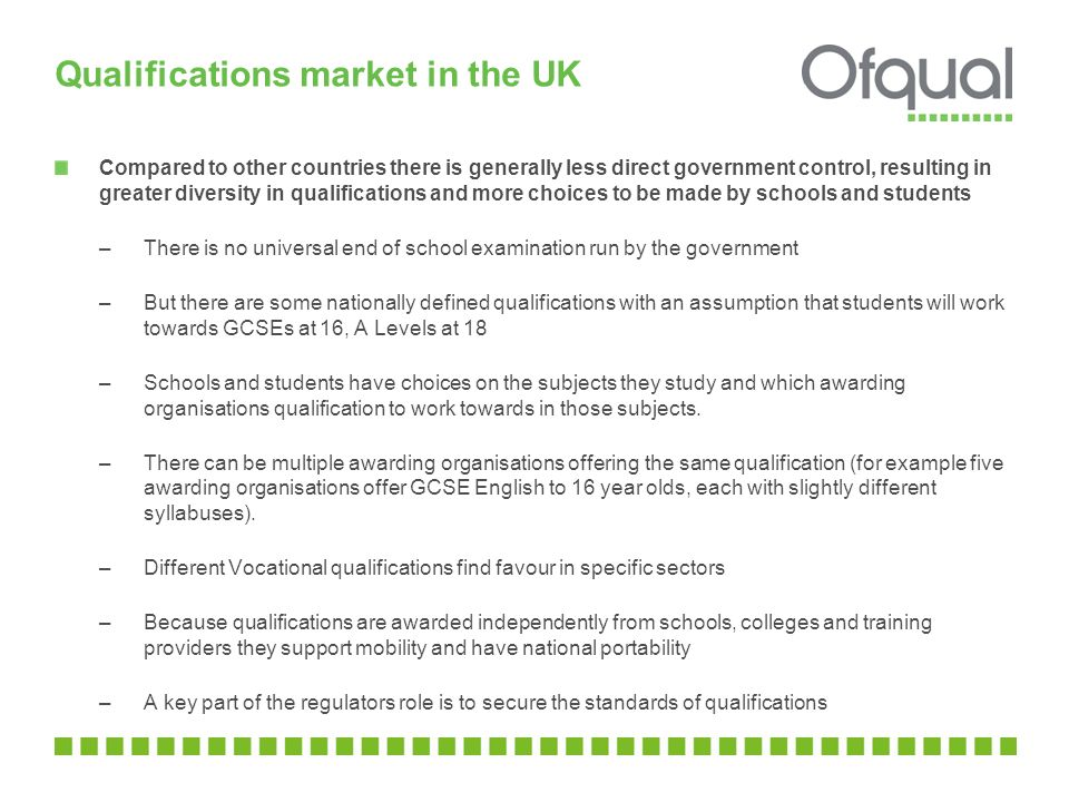 Qualifications market in the UK