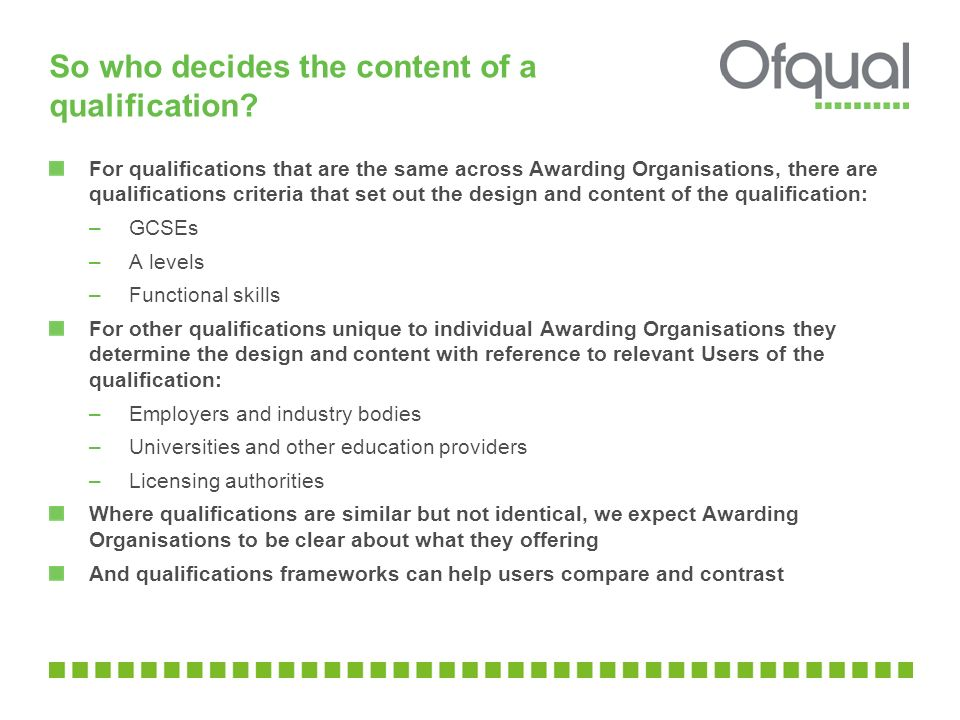 So who decides the content of a qualification