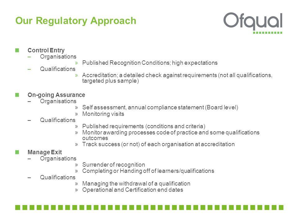 Our Regulatory Approach