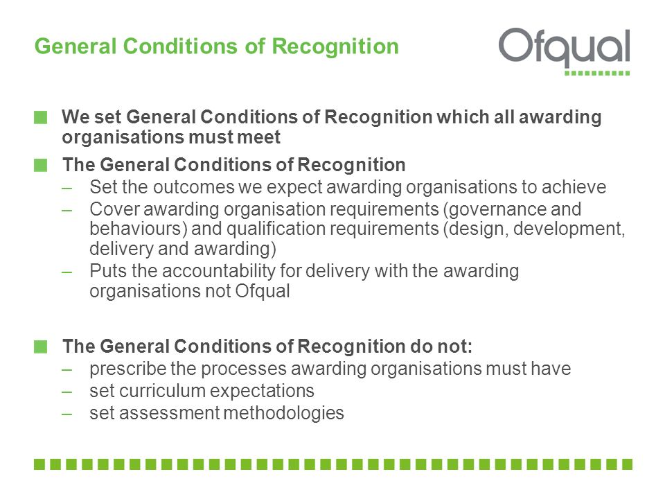 General Conditions of Recognition