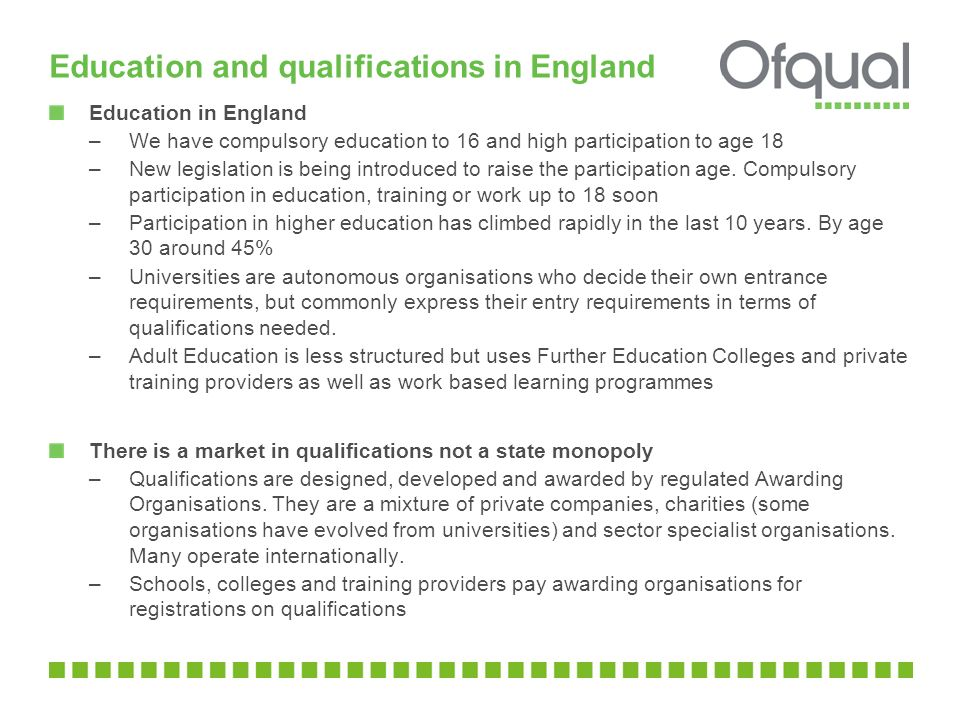 Education and qualifications in England