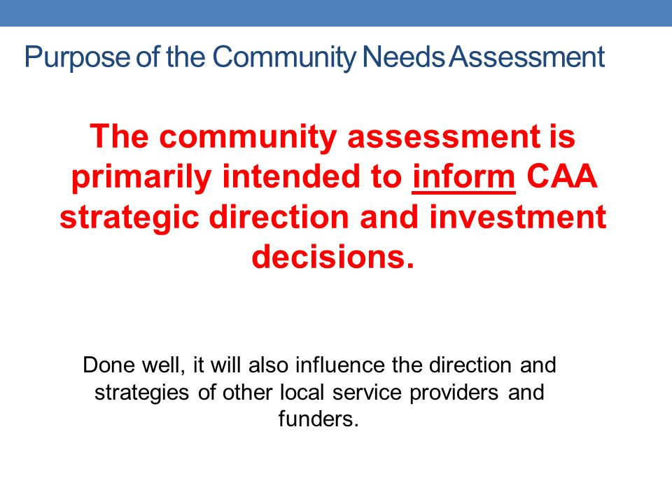 Community Needs Assessment Overview  Ppt Download