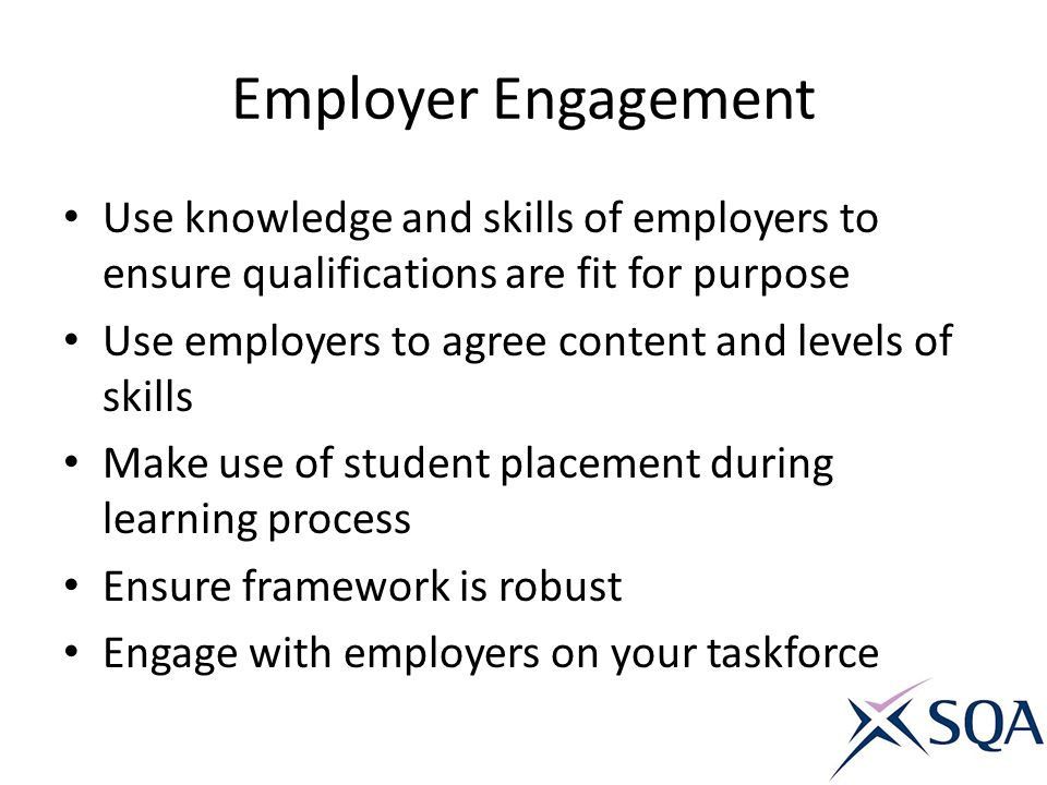 Employer Engagement Use knowledge and skills of employers to ensure qualifications are fit for purpose.