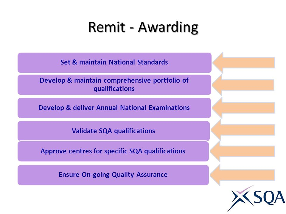 Remit - Awarding Set & maintain National Standards