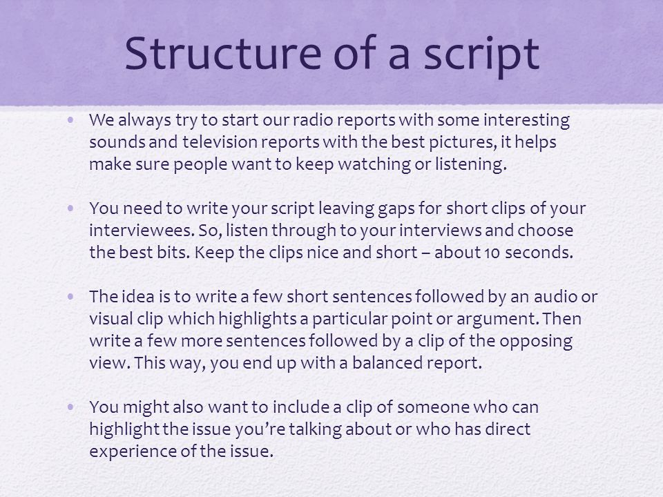 script writing for radio news Sometimes it is better to plan out your radio show with a script, radioco has a few tips as to how to best write a radio script for your station.