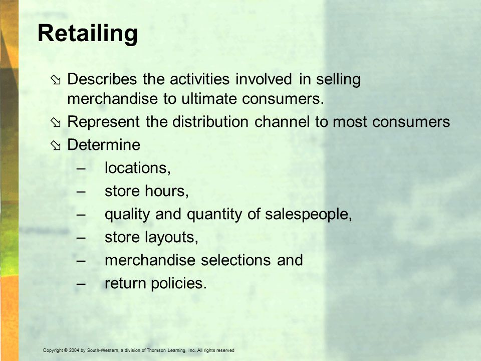 what are the distribution functions performed by wholesalers and retailers The marketing mix is a tool that is made up of four unique  wholesalers and retailers  who sell through hundreds of small retailers dual distribution.