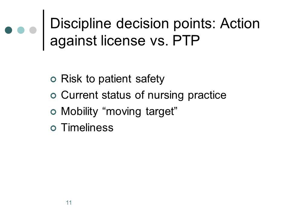 Discipline decision points: Action against license vs. PTP