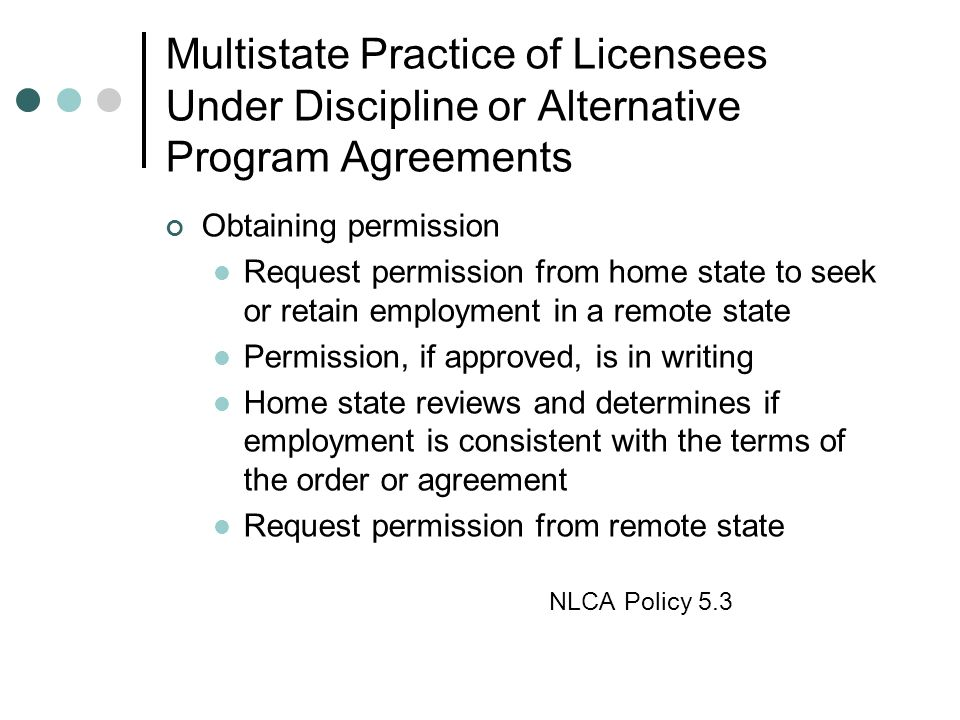 Multistate Practice of Licensees Under Discipline or Alternative Program Agreements
