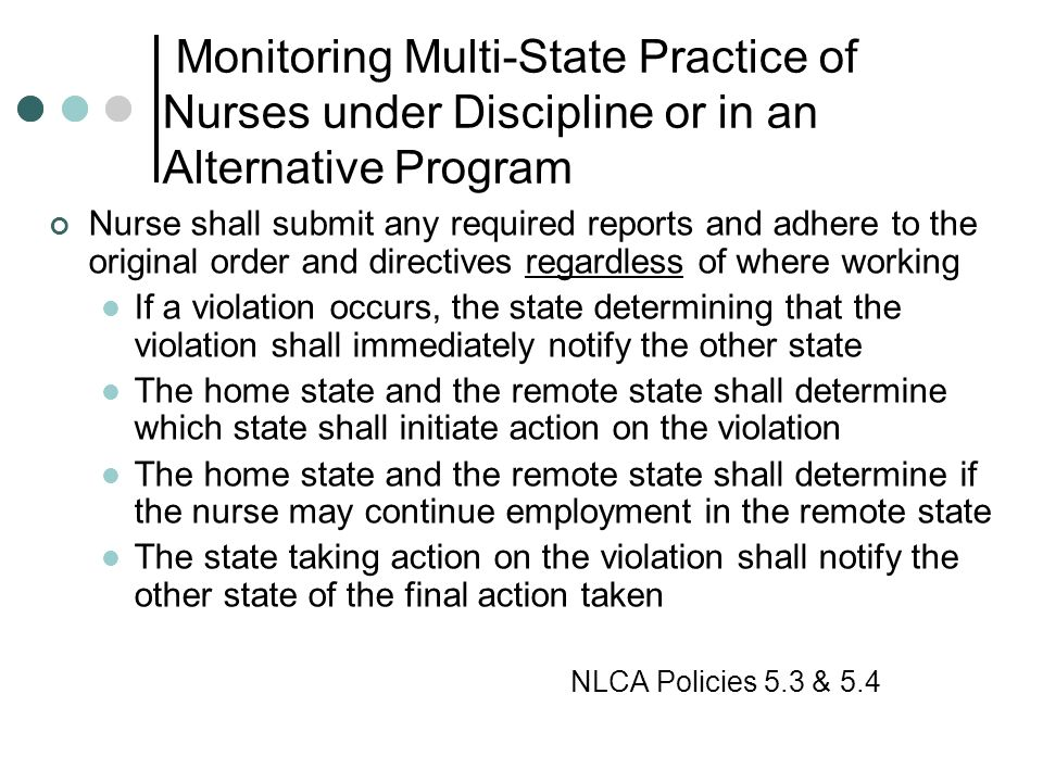 Monitoring Multi-State Practice of Nurses under Discipline or in an Alternative Program