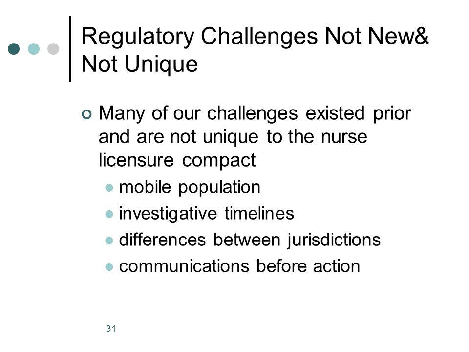 Regulatory Challenges Not New& Not Unique