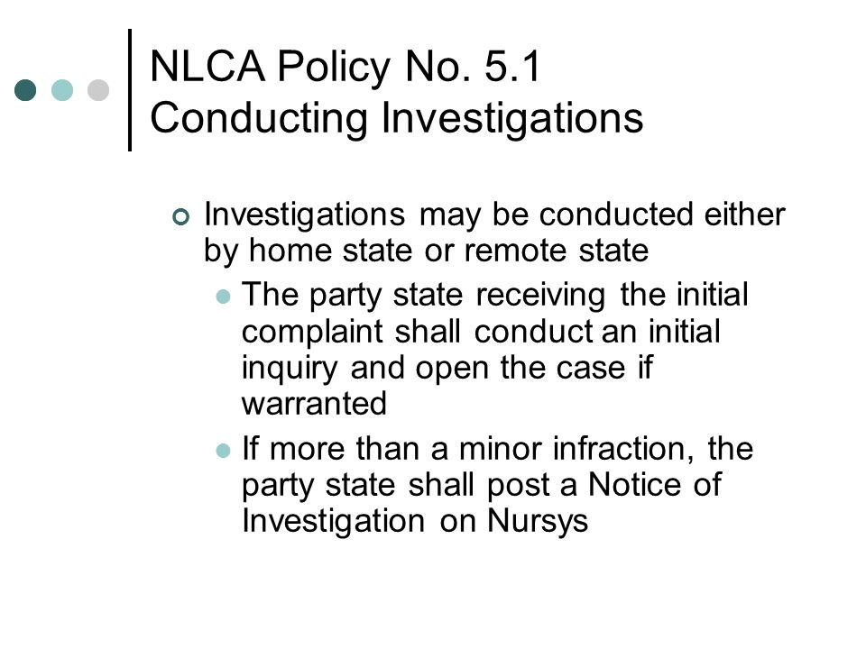 NLCA Policy No. 5.1 Conducting Investigations