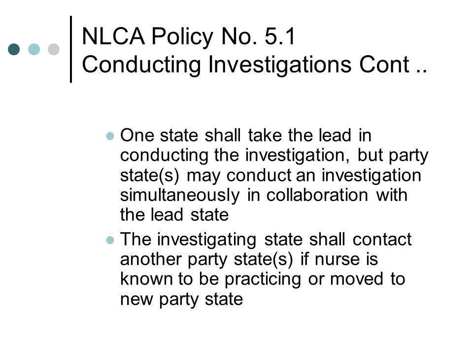 NLCA Policy No. 5.1 Conducting Investigations Cont ..
