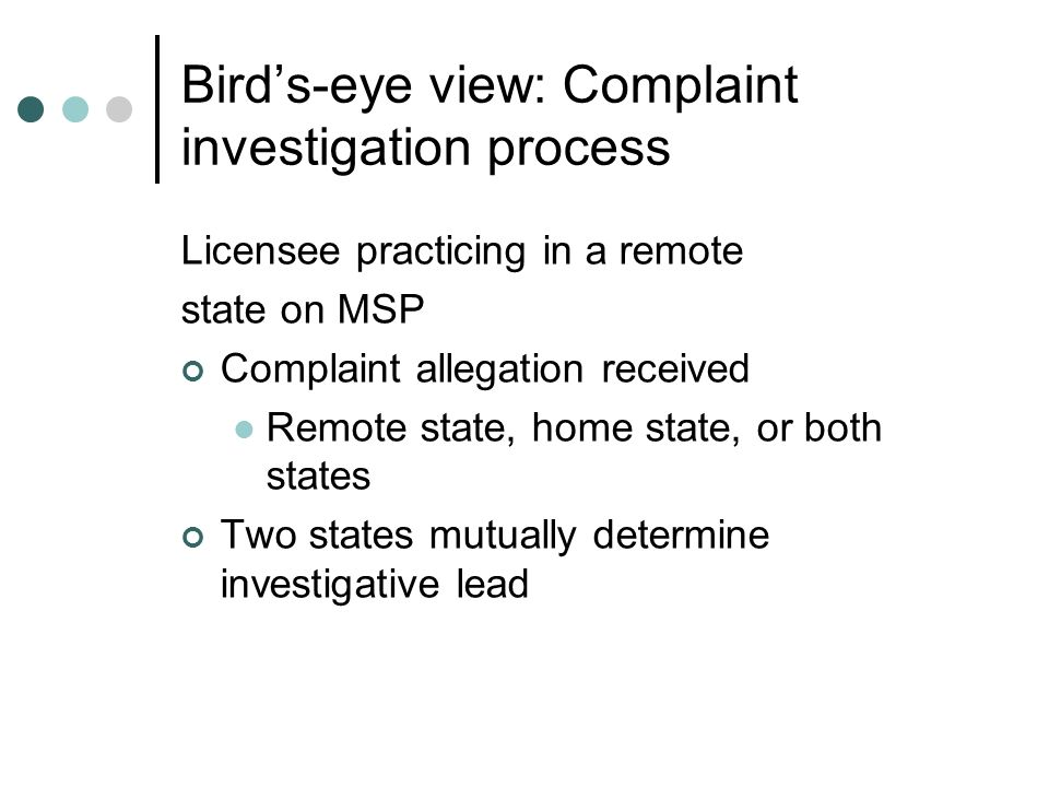 Bird's-eye view: Complaint investigation process