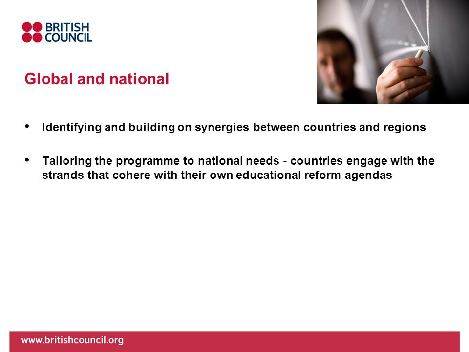 Global and national Identifying and building on synergies between countries and regions.