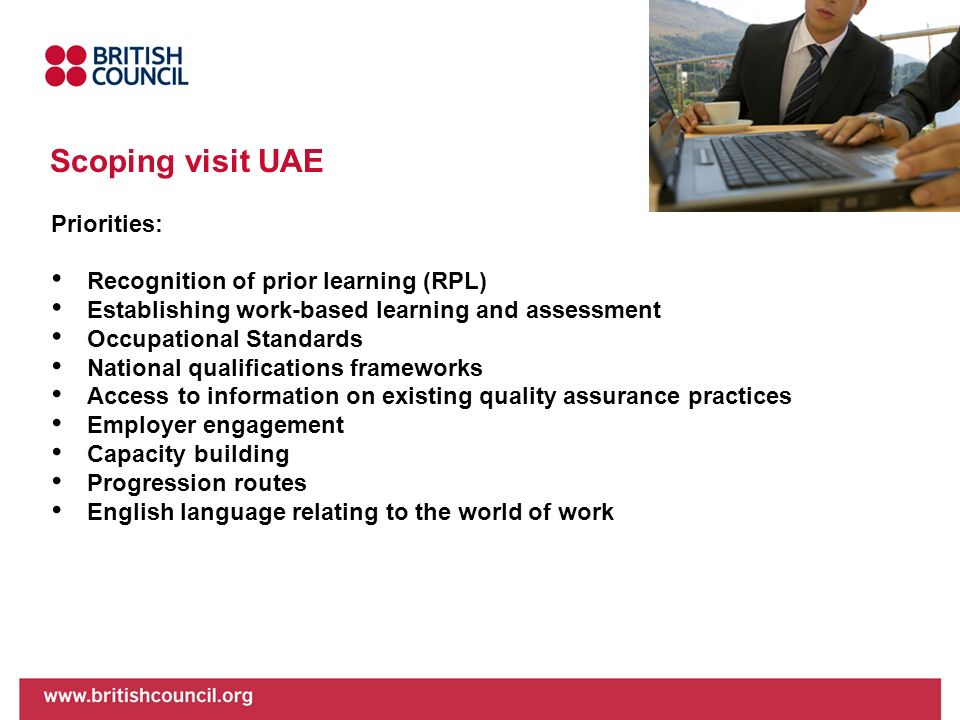 Scoping visit UAE Priorities: Recognition of prior learning (RPL)