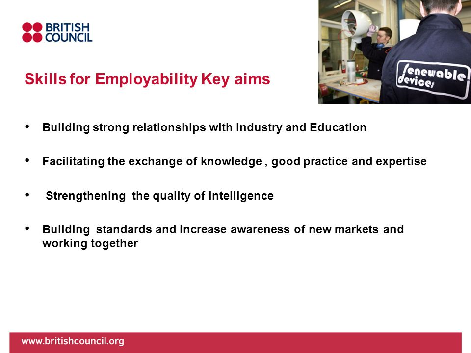 Skills for Employability Key aims